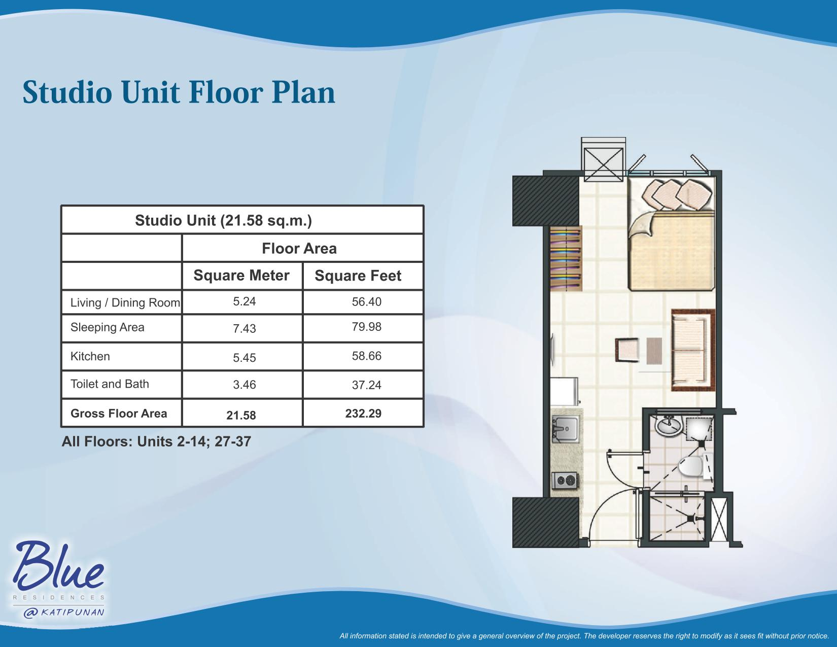 Blue residences condominium katipunan avenue corner for Studio type apartment design philippines